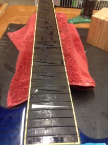 In process of refret and inlay repair